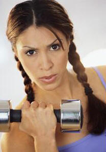 curls,dumbbells,exercises,females,fitness,free weights,people,photographs,pigtails,sports equipment,women,workouts